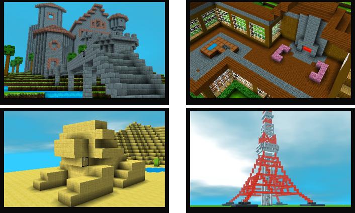 「クリエイティブモード」は、あらかじめ用意されたキューブを使って自由に建物などを作って遊ぶモードです。 さまざまな種類のキューブを積んだり、組み合わせたり